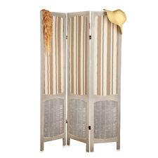 Paravent Vintage-Stil Holz Stoff in braun/beige Raumteiler Stellwand Sichtschutz
