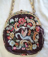 Antique Petit Point Handbag Purse Phoenix Tapestry Jeweled Frame Vintage