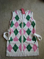 NWT NEW Gymboree Tennis Match argyle vest 100% cotton M 7 8 years old girl  HTF