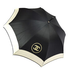 Authentic CHANEL Quilted CC Logos Umbrella Black White Nylon Vintage AK13050