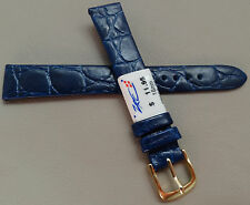 Made in France Navy Blue Crocodile Grain 16mm Watch Band Gold Tone Buckle $11.95