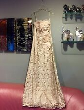 Teri Jon Strapless Lace Rosette Evening Gown Cocktail Maxi Dress Silk Org. SZ 10