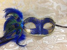 Blue & Gold Peacock Feather Venetian Mardi Gras Masquerade Mask