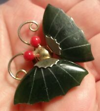 Vintage Chinese Jade Nephrite Red Koral Eye Gold Tone Pin Brooch Butterfly