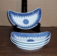 "1905 ROYAL WORCESTER BONE DISHES  6.25"" X 3.25"" BLUE AND WHITE LOT OF 4"