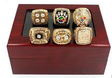 (6 PCs)74 75 78 79 05 08 Pittsburgh Steelers world Championship Ring Wooden Box