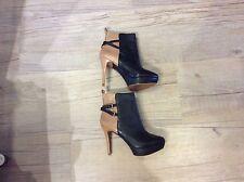 ZARA Camel & Black Leather Platform Ankle boots UK 6. EU 39