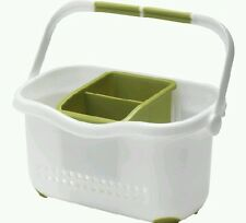 ADDIS ☆ Sink Caddy Drainer White & Green Kitchen Organiser Stroage Tidy Cutlery