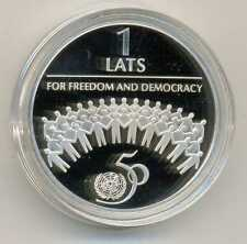 Latvia 50th Anniversary United Nations Silver 1 Lats 1995 Proof
