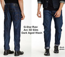 G Star Raw ARC 3D Slim Straight Jeans Dark Aged Distressed Sz 38 X 34 NEW $190