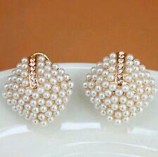 New Fashion Beautiful Rhinestone Square Temperament Type Pearl Stud Earrings