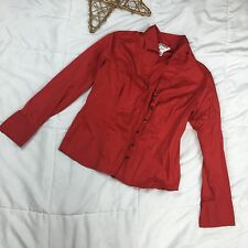 Talbots Stretch Sz 10 Red Long Sleeve Button Down Career Shirt