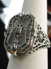 Camphor Glass Solid Sterling Silver 1930's Art Deco Design Filigree Ring Size 10