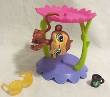 Littlest Pet Shop Monkey #485 Blue Tear Drop Eyes Orangutan RARE with Pedestal