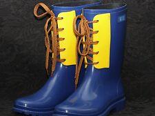 DIESEL BLUE & YELLOW SHORT LEC-Y WELLINGTON Rubber Rain Boots S 37 UK