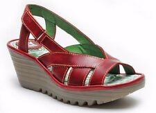 FLY LONDON SHOES YISA WEDGE SANDALS SLINGBACK RED LEATHER PLATFORM 8 $175