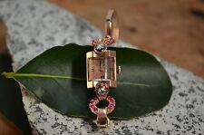 1930's Nicolet Art Deco Rubies & Diamonds and Solid 14K Rose Gold Lady's Watch