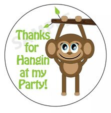 24 Cute Monkey Theme Party Favor Labels/ Stickers Glossy!