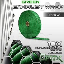 "1"" x 50' Manifold Header Exhaust Thermal Heat Tape Wrap Roll + Ties - Green (T)"