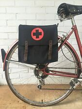 Vintage Black w/Medic Logo Military Surplus Style Messenger Bag Bicycle Pannier