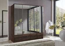 SlumberHaus German 'Imago' 4 Door Walnut and Mirror Door Wardrobe