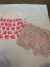 Soup 3 Month Girl White Strawberry Top With Floral Bloomer