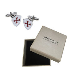 Mens Knight Templar Shield Cufflinks & Gift Box St Georges Day By Onyx Art