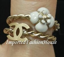 AUTHENTIC CHANEL CLASSIC WHITE CAMELLIA FLOWER CC LOGO GOLD DOUBLE RING NEW