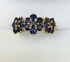 14k Solid Yellow Gold Flower Cluster Ring 2.22CT Natural Blue Sapphire 8.75Size
