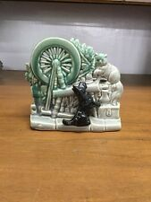 Vintage McCoy USA Black Dog With A Cat On Spinning Wheel Double Planter