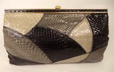 JANE SHILTON BLACK GREY SNAKESKIN  LEATHER CLUTCH OR SHOULDER BAG HANDBAG FRAME