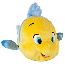 "Disney Authentic Patch Little Mermaid Flounder Plush Toy Doll 10"" W Kids Gift"