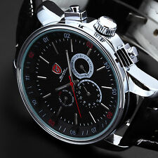 SHARK Fashion Black Leather 6 Hands Date Day Display Army Mens Sport Wrist Watch