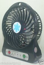 Portable Mini Rechargeable LED Light Fan With Battery & USB Cable-Black