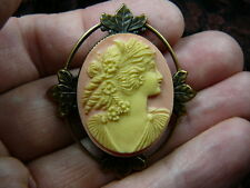 (CS63-2) WOMAN rose roses Ringlet pink oval CAMEO Pin Pendant Jewelry brooch