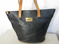 Genuine Mino Bossi large leather shopping tote bag in black
