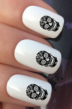 NAIL ART SET #306 x24 SUGAR SKULL DAY OF THE DEAD WATER TRANSFERS/DECAL/STICKERS