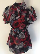NEW DOROTHY PERKINS BLACK CHIFFON POPPY PRINT RUFFLE COLD SHOULDER TOP SIZE 14