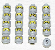 LEGO LOT OF 20 NEW LEGO MASKED MINIFIGURE HEAD GREY YELLOW RACE CAR DRIVER FACE