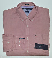 NWT TOMMY HILFIGER men's Casual Long Sleeve Shirt, L, Large, Pink, Custom Fit
