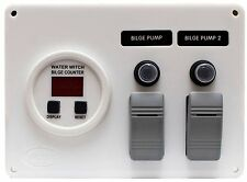 Bilge Switch Panel w/ Water Witch Digital Counter Gauge for Bilge 2 pump system
