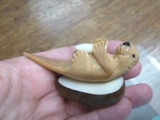 (TNE-OTT-524B) brown sea Otter Nutria TAGUA NUT Figurine Carving Vegetable ivory