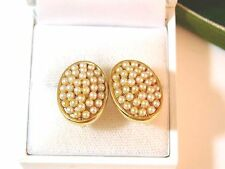 Vintage Marvella Gold tone White Faux Seed Pearl Cluster Clip on Earrings 7b 53