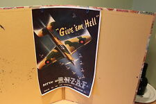 "ROYAL NEW ZEALAND AIR FORCE POSTER - WW2 - ""GIVE EM HELL"" - R.N.Z.A.F. SPITFIRE"