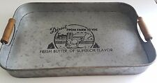 Farm House Galvanized Metal Tray with Wood Handles; Western Home Decor, Display