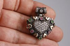 Turkish Jewelry Heart Ruby Emerald Topaz 925 Sterling Silver Locket Pendant