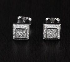 Womens Solid 925 Sterling Silver CZ   Square Stud Earrings 7mm