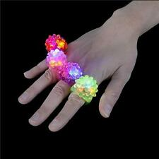 12 LED FLASHING COLOR LIGHT UP BUMPY RINGS RAVES PARTY JELLY RING CARNIVAL PRIZE