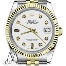 Men`s Rolex 36mm Datejust2Tone White Color Dial with 8+2 Diamond Accent