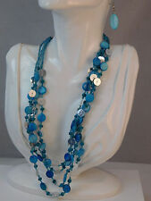 Turquoise Blue Mother Pearl Button Bead 4 strand Silver Necklace extender 7f 38